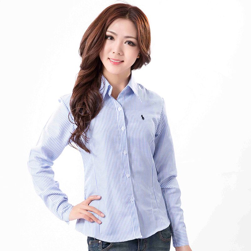 47fae1e339a Classical Women Polo Striped Shirt 2017 Lady Fashion Long Sleeve Formal  Blouse Plus Size XXXL Blusas Feminina Three Crystal Yz