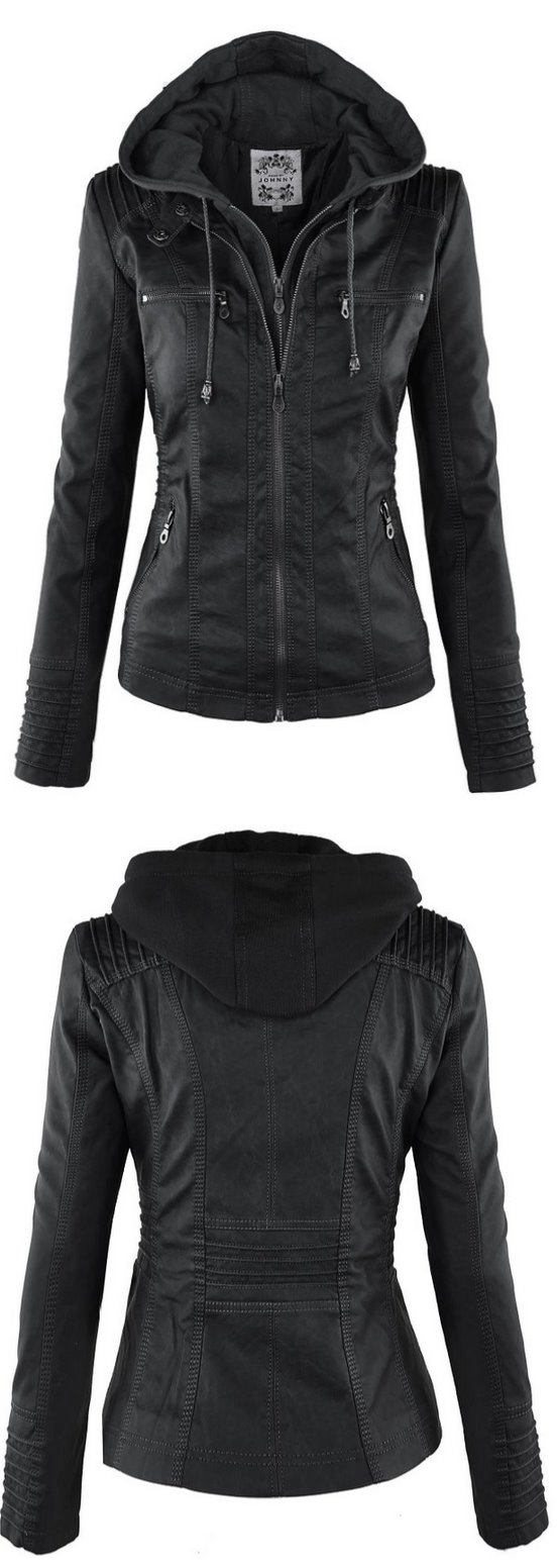 LL Womens Hooded Faux leather Jacket http//amzn.to