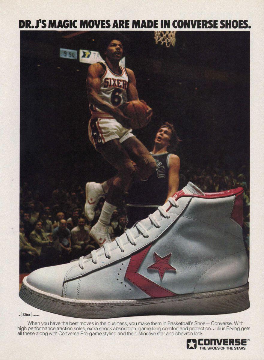 Julius Erving Signed Vintage Style Converse Basketball Shoe
