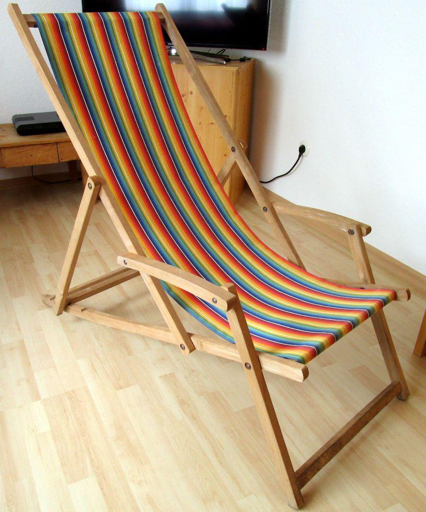 Original Vintage Holz Liegestuhl 50er 60er Jahre Sonnenliege