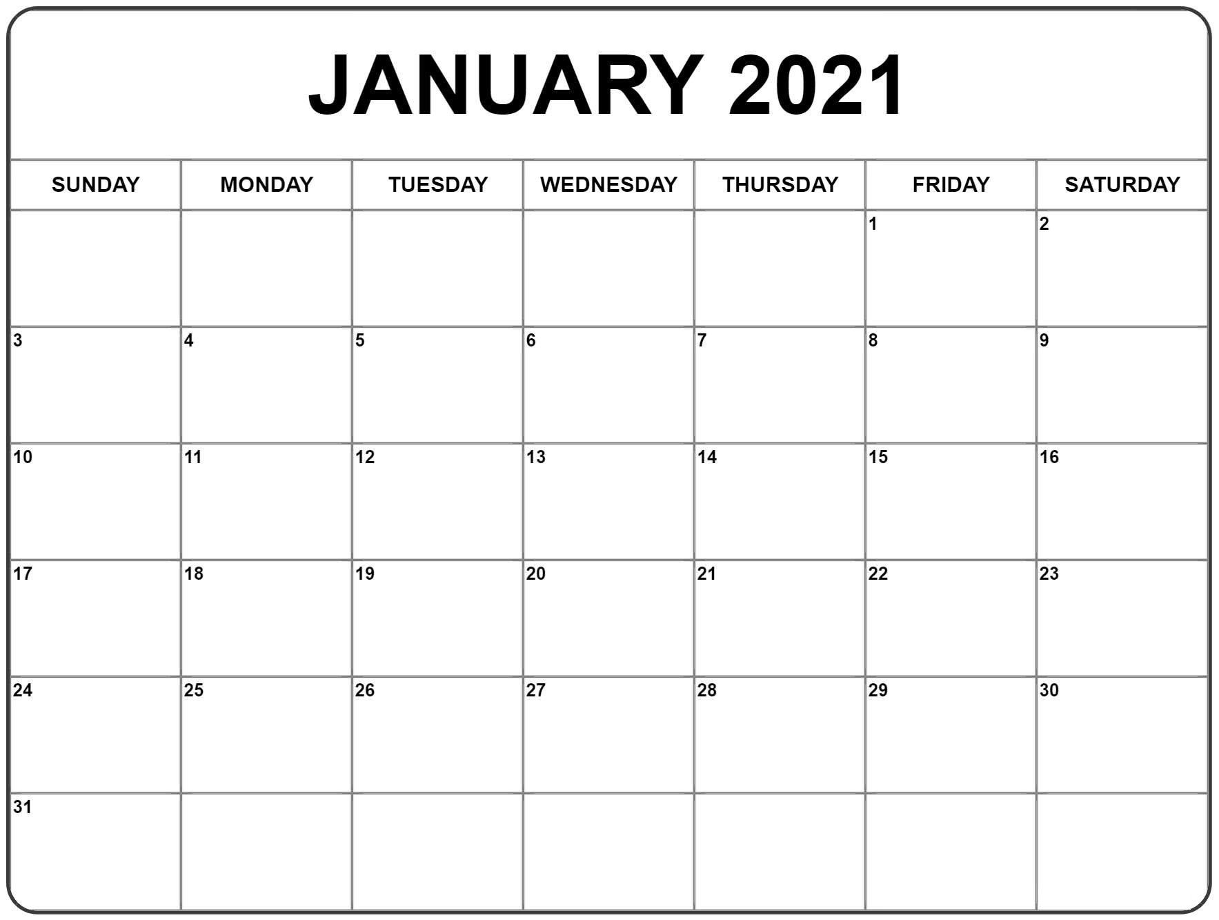 2021 January Calendar to Print in 2020 | Monthly calendar ...