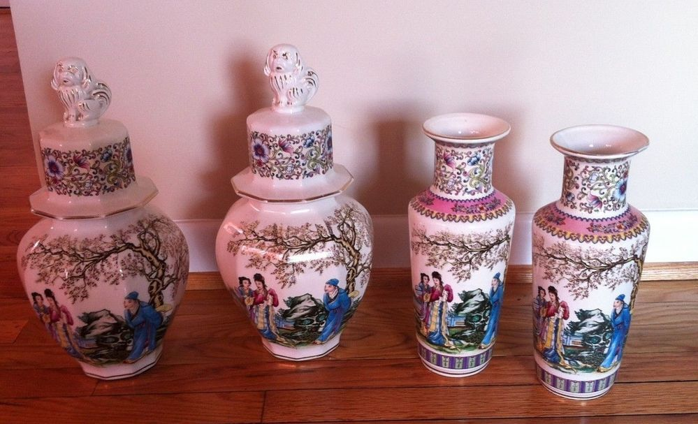 Antique Oriental Vase Porcelain V V Carraresi Made In Italy 4 Pieces Vvcarraresi Antique
