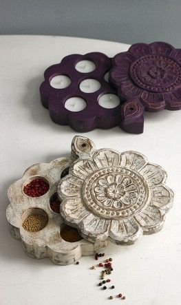 Traditional Indian spice boxes with lids that slide back to reveal hidden recesses. Made of waxed, stained wood ~ Plumo Ltd