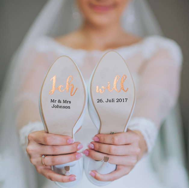 Customizable shoe stickers for your wedding on vinyl foil rosegold for you and him, bridal shoe, groom shoe, wedding shoe #bridalshops