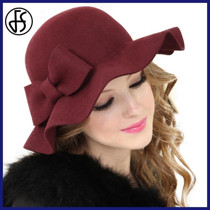 f91d0fb385652 FS Elegant Wool Felt Hat For Womens Black Wine Red Wide Brim Bow Fedora Cap  Winter Lady Formal Chapeu de Feltro Bowler Hats  HatsForWomenBowler