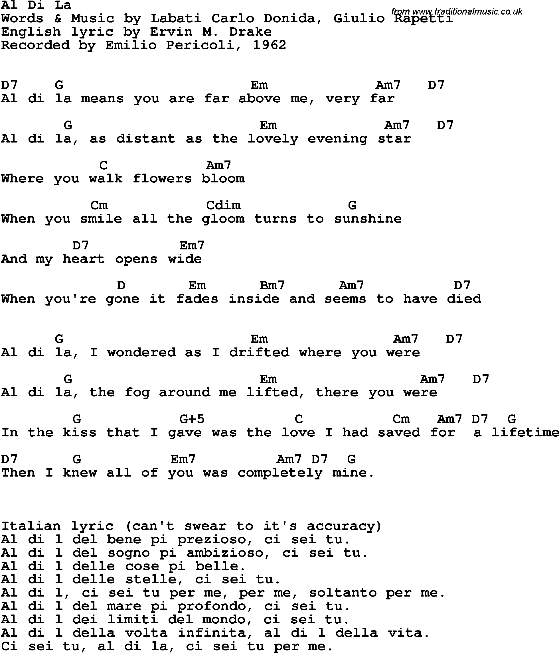 Song Lyrics With Guitar Chords For Al Di La Emilio Pericoli 1962