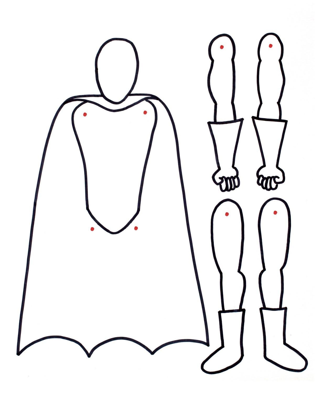 Superhero Printable With Movable Arms And Legs Paper Doll Color And