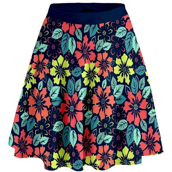 Tropical flowers High Waist Skirt CowCow (€24) ❤ liked on Polyvore featuring skirts, elegance, flowers, stretchy skirt, flower skirt, floral skirt, flare skirt and colorful skirts