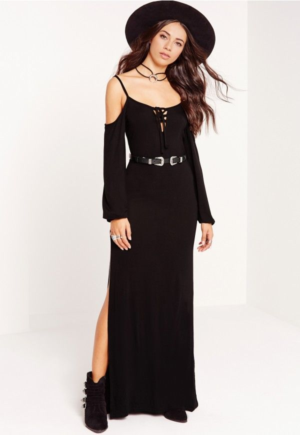 Jersey Cold Shoulder Lace Up Maxi Dress Black - Missguided