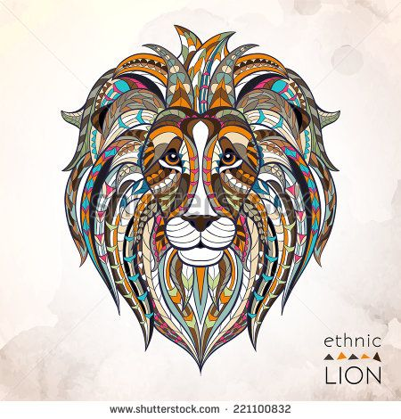 Ethnic lion / african / indian / totem / tattoo design  - stock vector