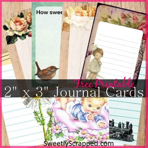 FREE printable journal cards... they measure 2 inches by 3 inches so they will fit nicely into pockets, cards, layered on your scrapbook lay...