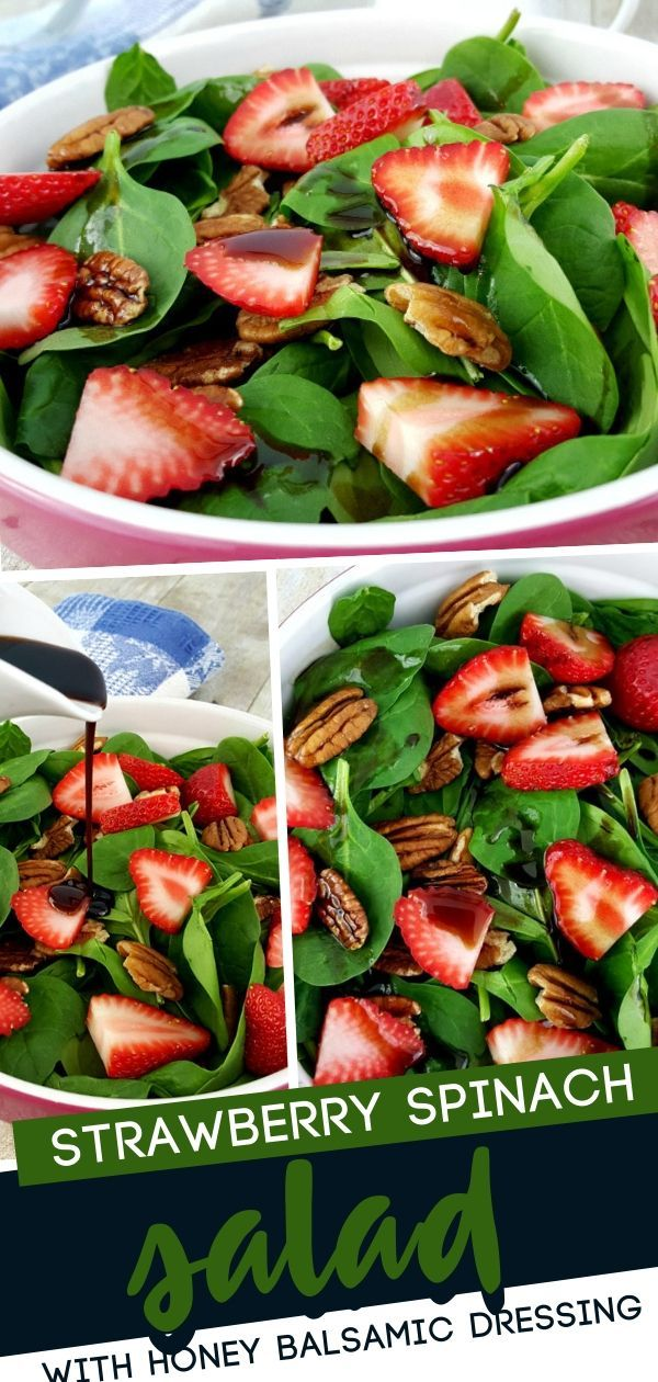 Strawberry Spinach Salad with Honey Balsamic Dressing - -