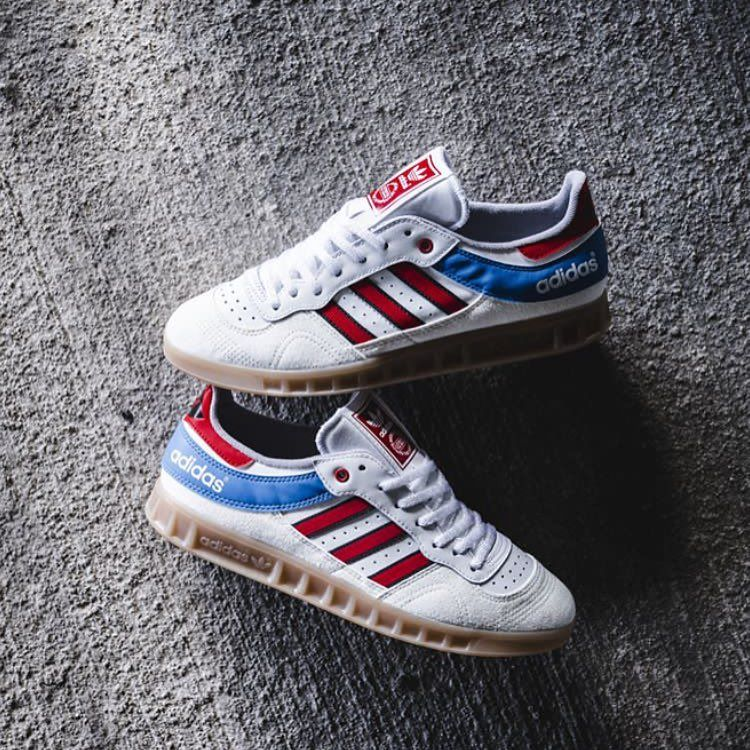 Release Date : October 2017 Adidas Handball Top White / Red / Bright Royal  Credit : Solebox