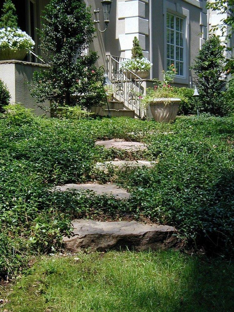 Treppen Garten Naturtliche Gestaltung Grosse Steine Trittplatten Gartentreppe Garten Stufen Landschaft Treppe