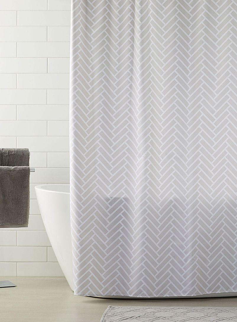 Herringbone Shower Curtain Gray Shower Curtain Bathroom Gray