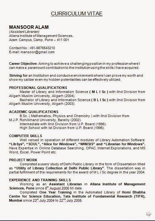 format of resume Sample Template Example ofExcellent CV \/ Resume - sample librarian resume