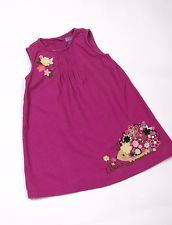 L102/44 Shrinking Violet Pink Cotton Cord Dress with Hedgehog Decoration,age 3-4