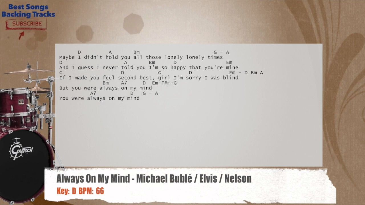 Always On My Mind Michael Bubl Elvis Nelson Drums Backing