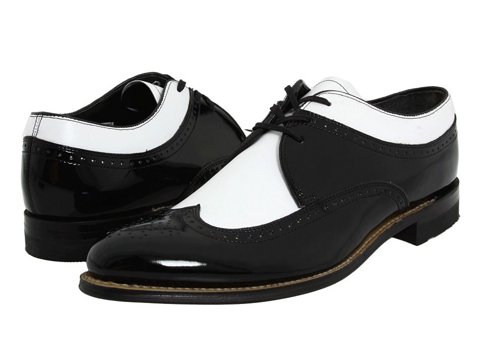 5b426b00e09 Vintage style mens shoes 19102s to 1950s - Stacy Adams - Dayton - Wingtip  Black w White Mens Shoes  95.00 AT vintagedancer.com