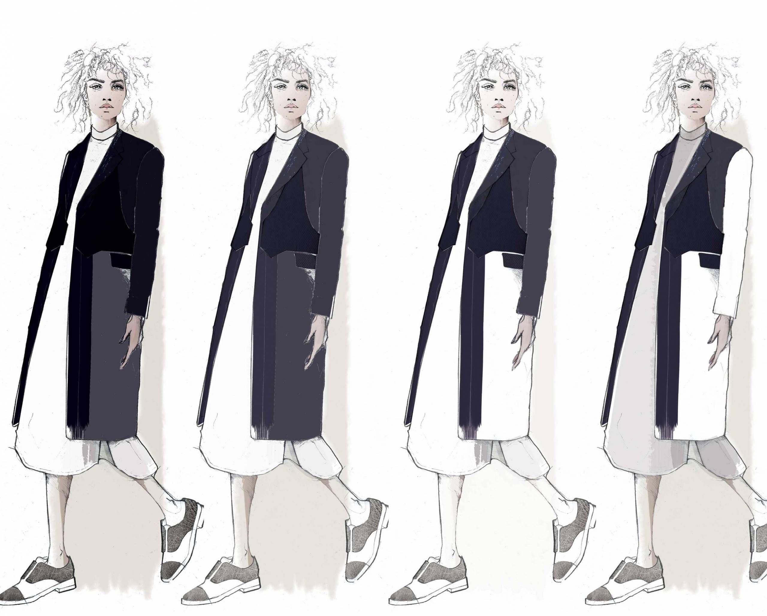 Fashion Sketchbook - fashion illustrations; tailoring; graduate fashion portfolio // Emma Louise Williams