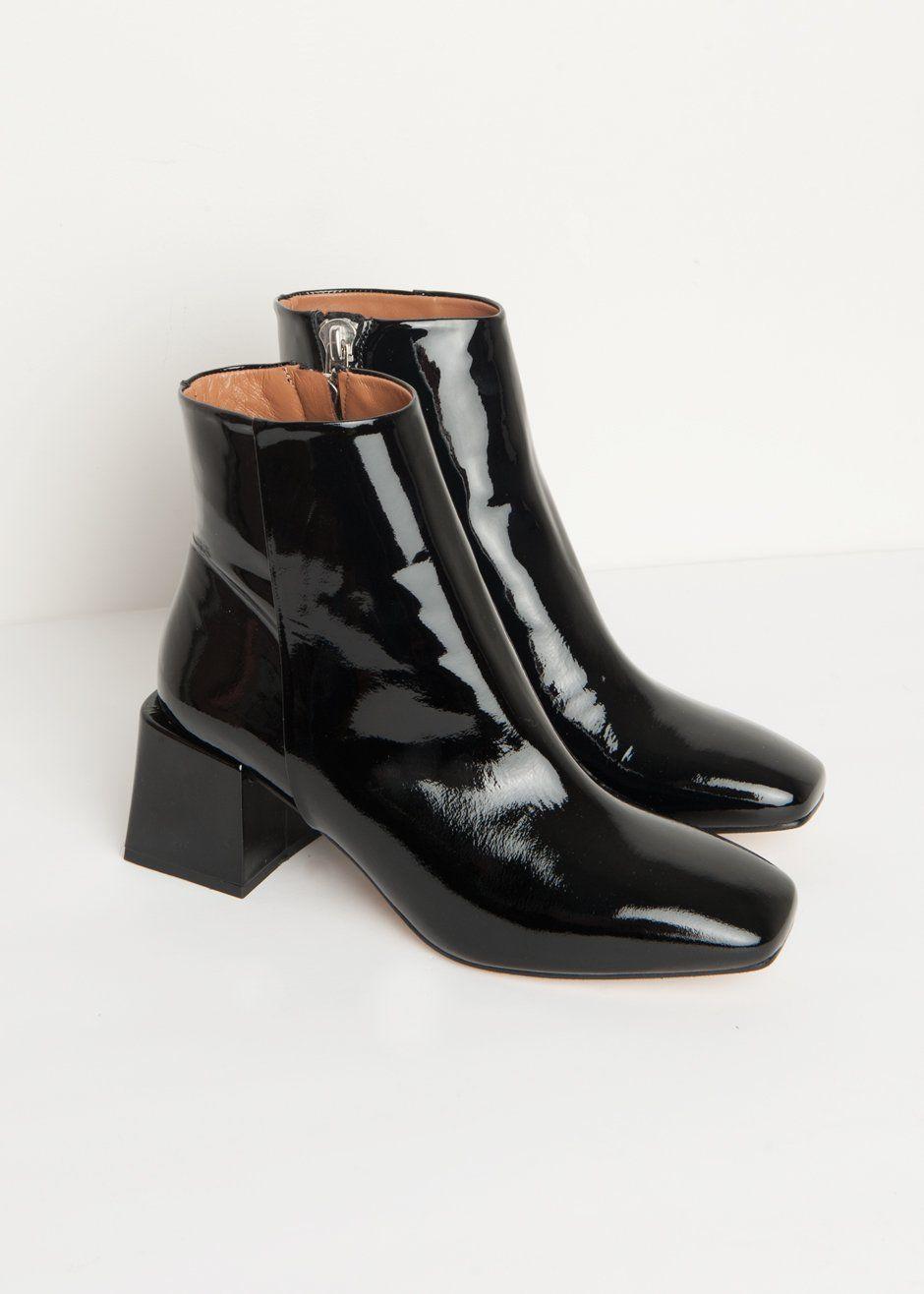 59b0a24ac93f  newarrivals  LOQ  lazaro  patent  booties  thefrankieshop  frankienyc   frankiegirl Ankle Boots w a Square Toe   Covered Block Heels Inside Metal  Zipper ...