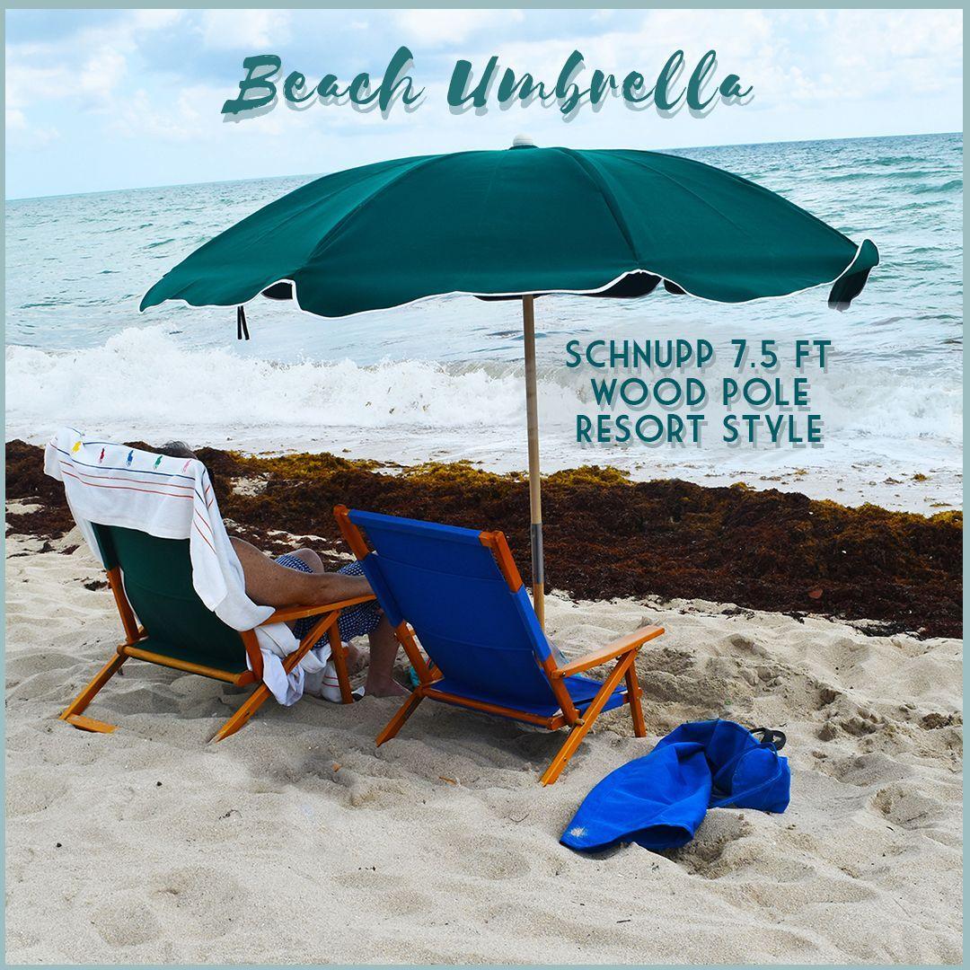 Schnupp 7 5 Ft Wood Pole Resort Style Beach Umbrella