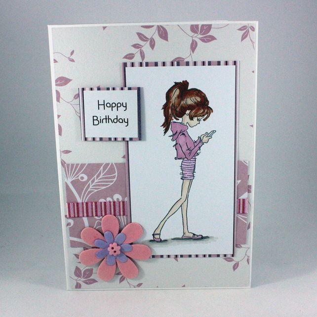 handmade teenage girl birthday card  girl birthday cards
