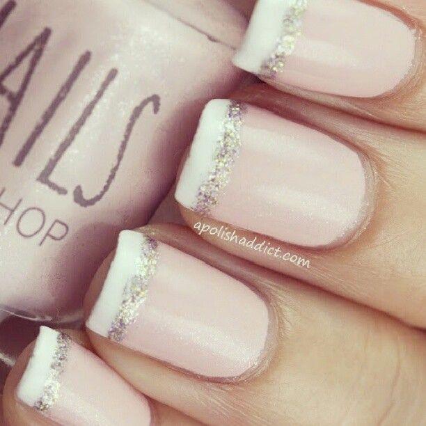 Delicadas Unas Estilo Francesita Con Brillo Nails Esmalte Chicas