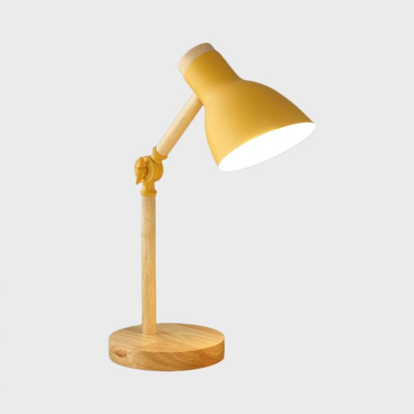 Domed Metal Rotatable Desk Light Modernist 1 Head Yellow And Wood Reading Lamp For Study Room Lamp Desk Light Reading Lamp