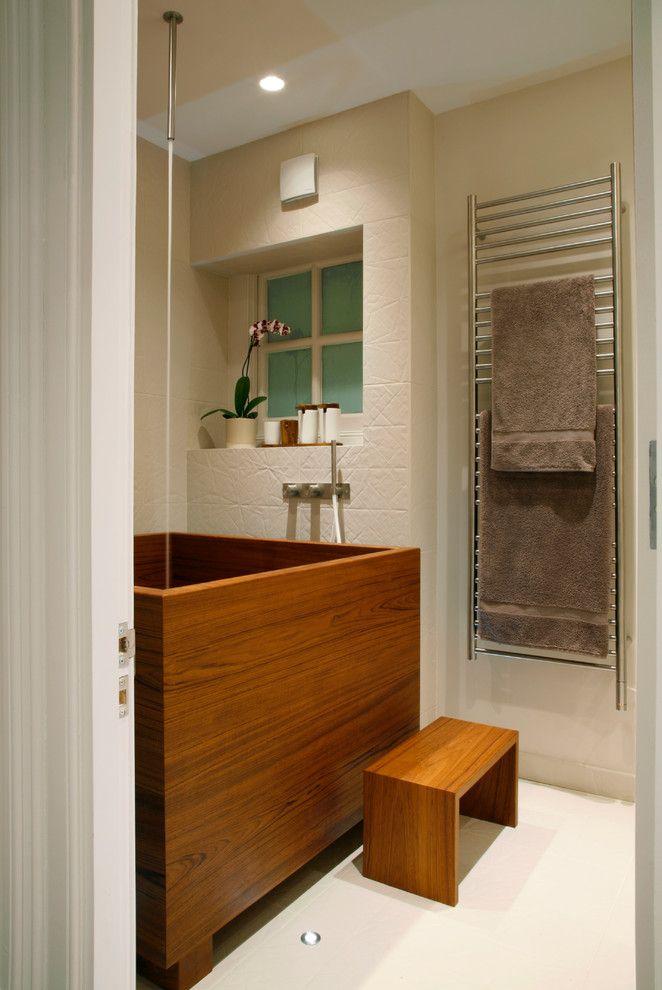 Wooden-Bathtub-closed-Teak-Stool-Bathroom-on-Nice-Floor-near-Iron ...