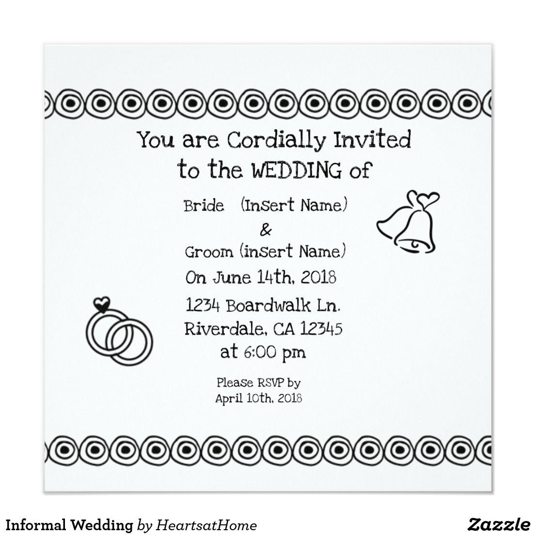 Informal Wedding Invitation Informal