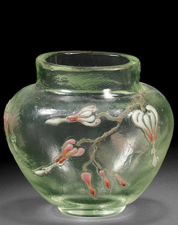 Small Emile Gall Enamelled Glass Vase Signed Gall Circa 1890