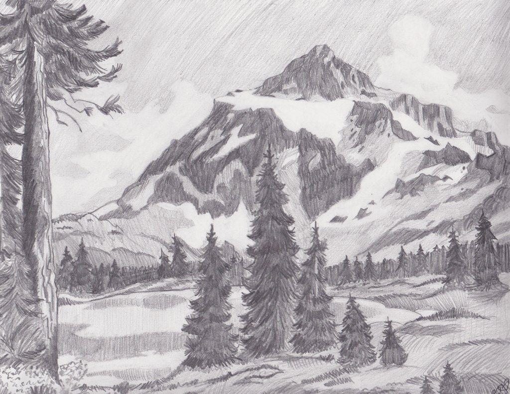 Mountain Landscape By Melmo1123 On Deviantart Landscape Pencil Drawings Landscape Sketch Cool Landscapes