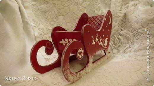 Декор предметов Новый год Декупаж Новогодние санки Jingle bells Фанера фото 1