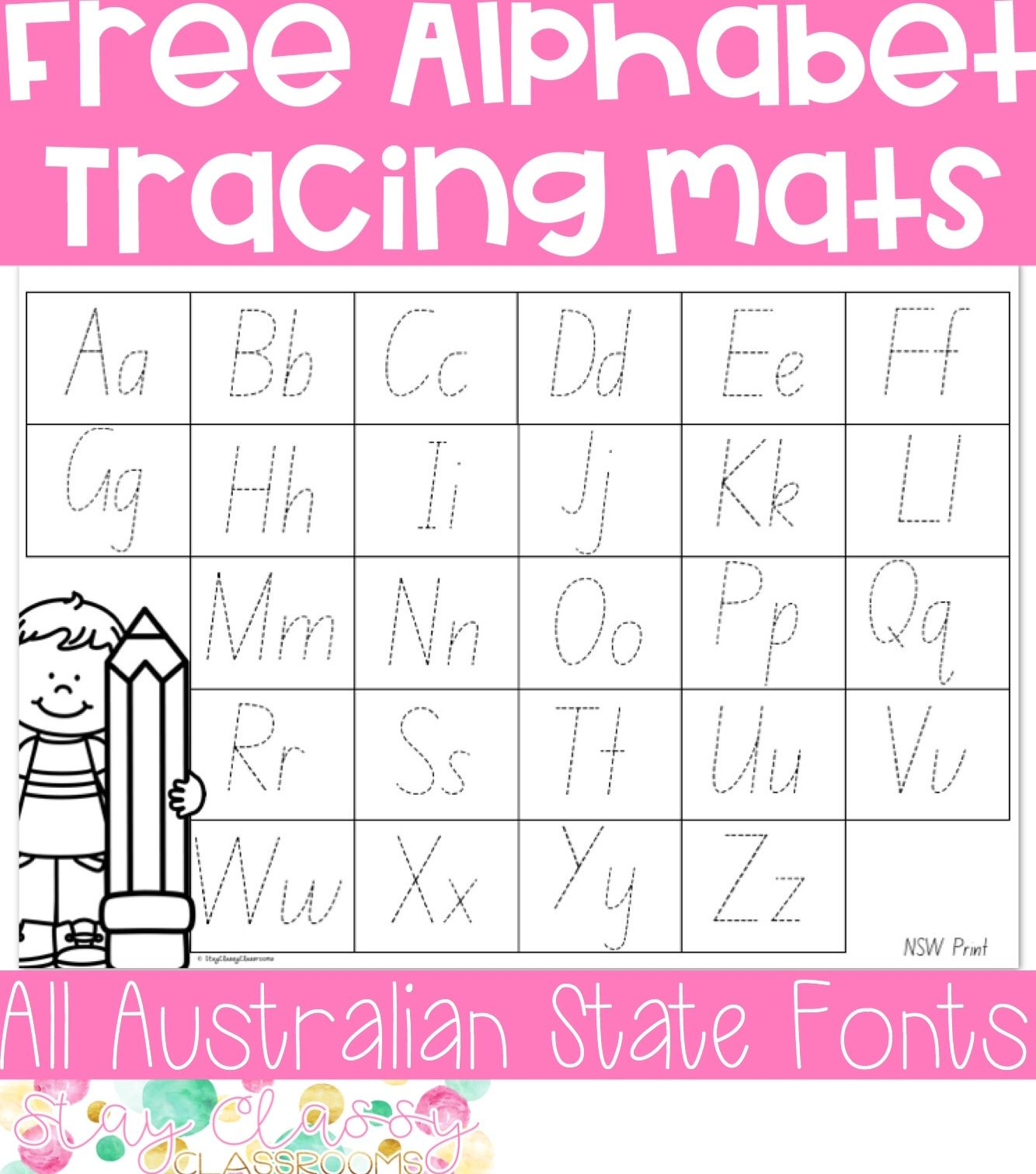 Alphabet Tracing Mats Print And Australian Fonts