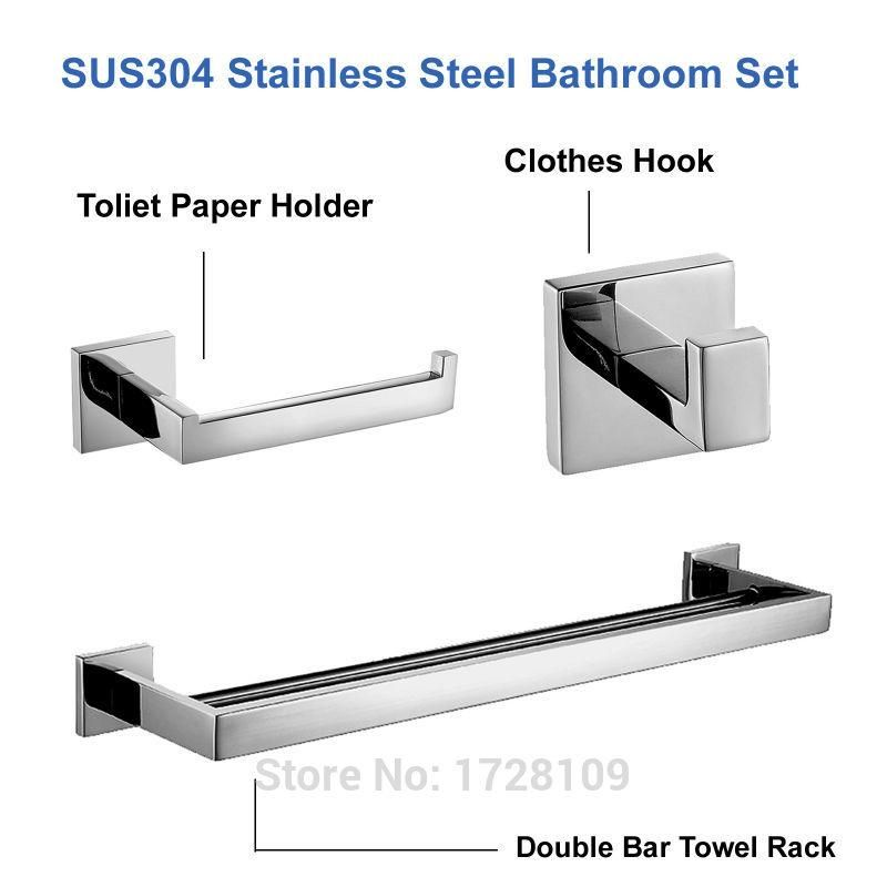 Mirror Polished SUS 304 Stainless Steel Bathroom Accessories Set