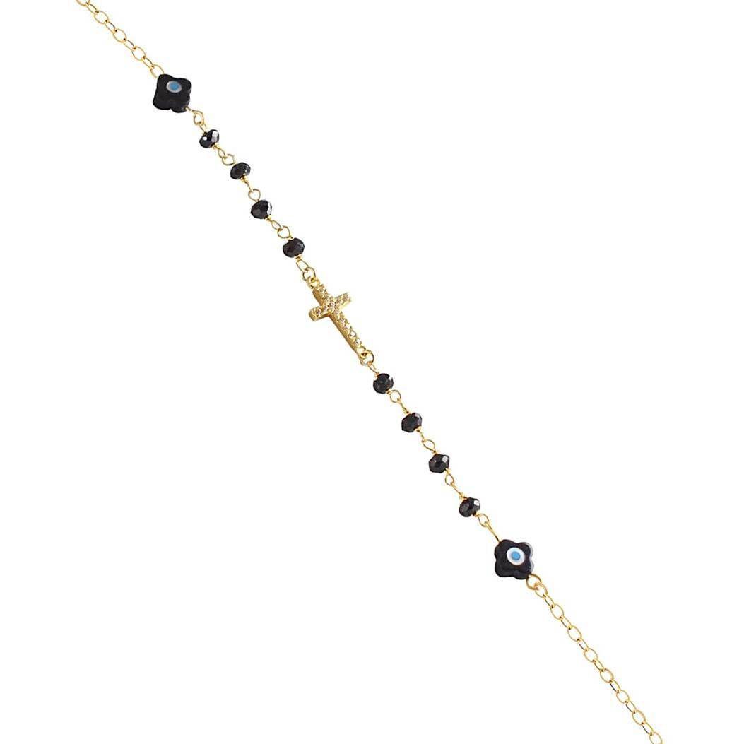 ΑΧ181P-Χρυσή αλυσίδα χεριού με ματάκι και μαύρες πέτρες  21152d172a9
