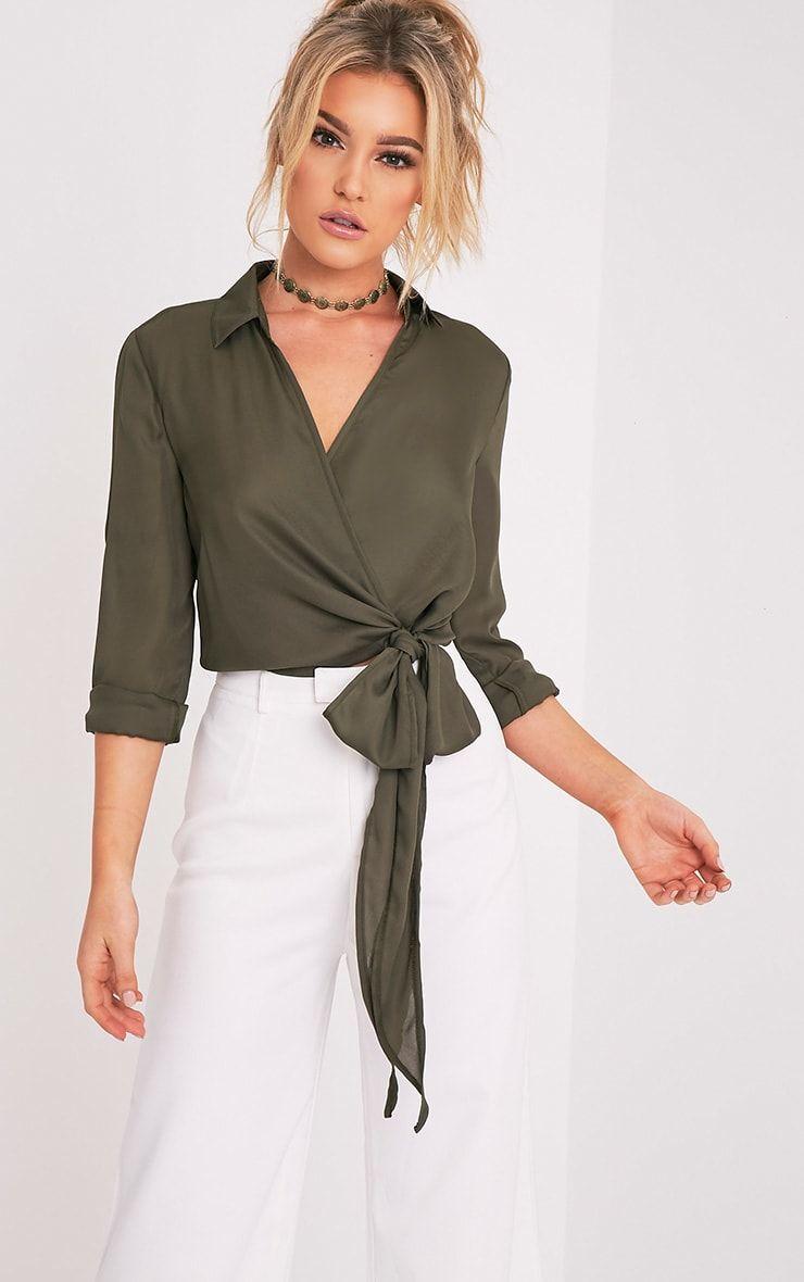 d15e8209468 Avalyn Khaki Wrap Front Tie Side Blouse