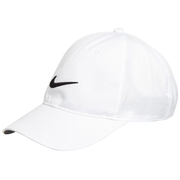 Nike White embroidered logo baseball cap (£4.50) ❤ liked on Polyvore featuring accessories, hats, baseball cap, nike hat, nike, white hat and ball caps