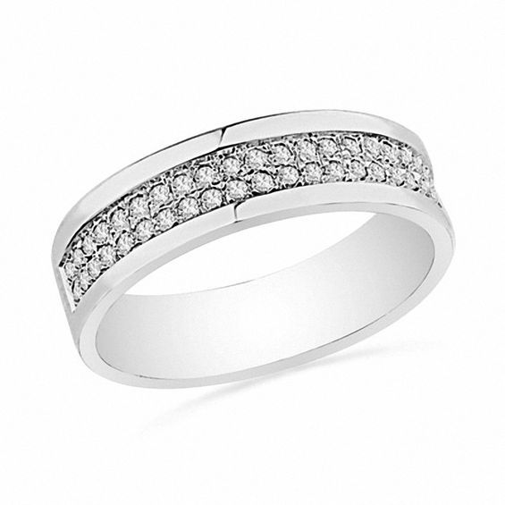 1 5 Ct T W Diamond Double Row Band In Sterling Silver
