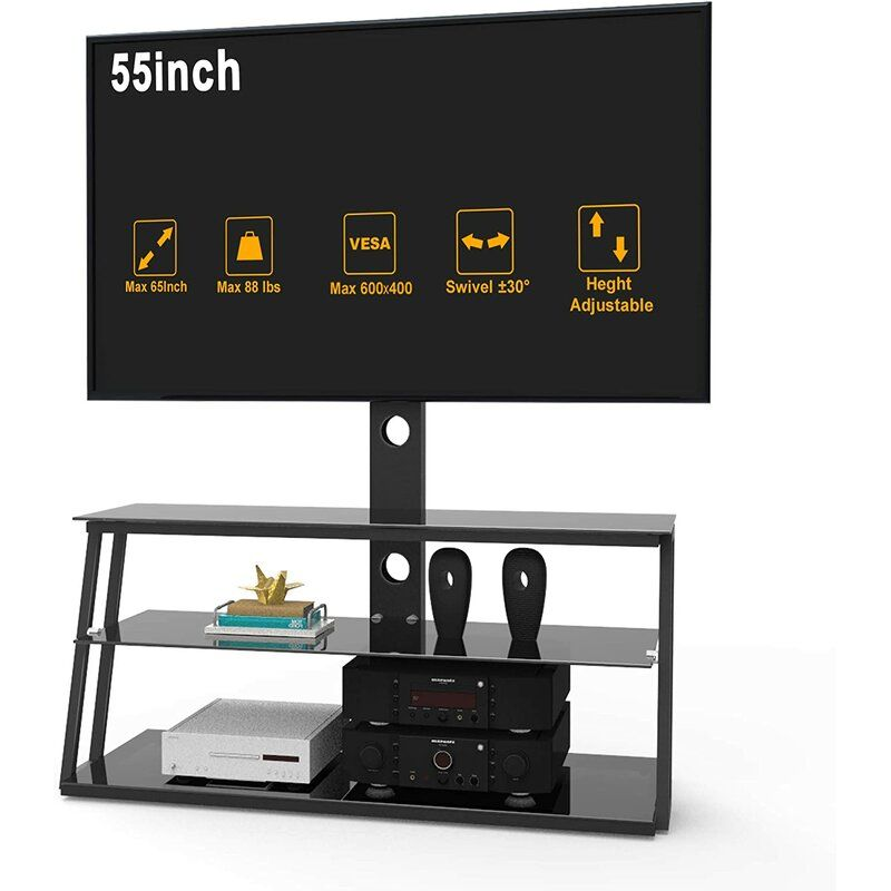 "Height Adjustable TV Stand With Swivel Mount For 32/""-60/"" up to 88 Ibs Most TV"