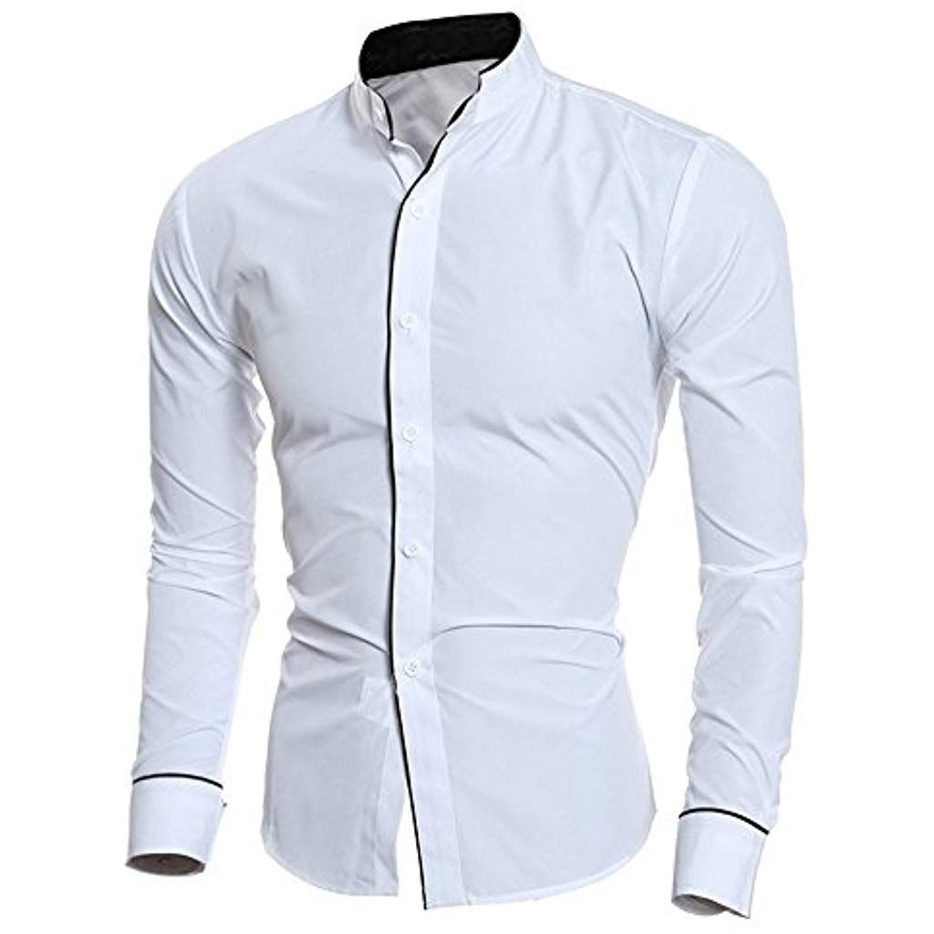 1ddf420b Mens Dress ShirtsFormal Solid Long Sleeve Lapel Stand Neck Shirt Business  Party Blouse Top Zulmaliu #sport1 #sportschau #sportscheck #sportbild  #sport ...