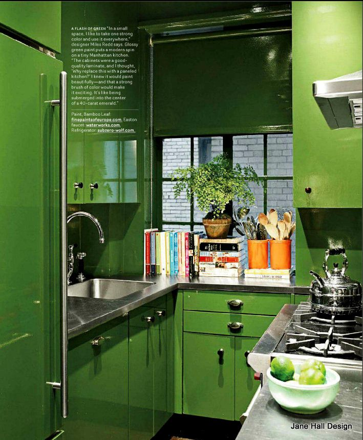 Contemporary Kitchen In Kelly Green