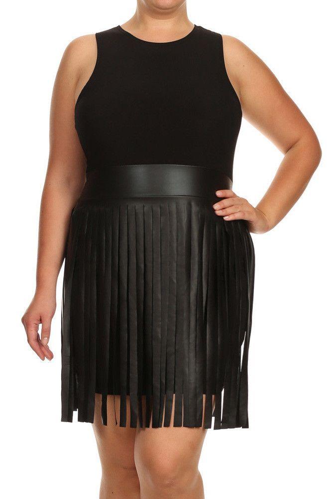 Plus Size Sway In Faux Leather Fringe Black Dress – PLUSSIZEFIX ...