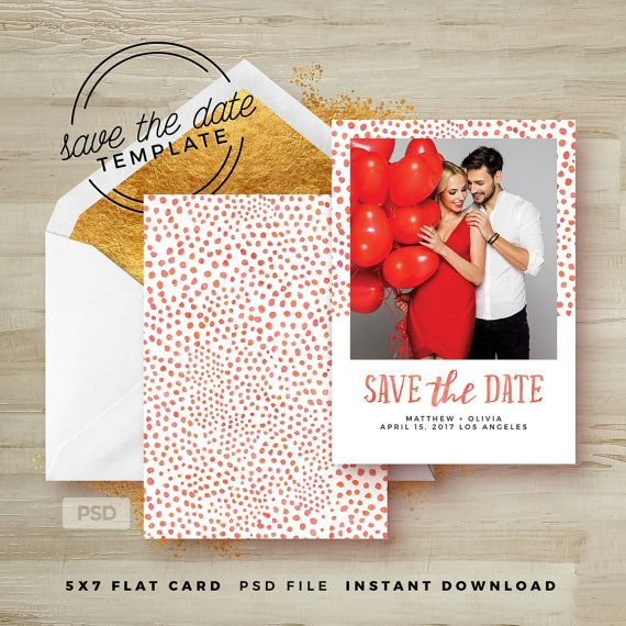 Save The Date Card Template  Wedding Announcement Card Template