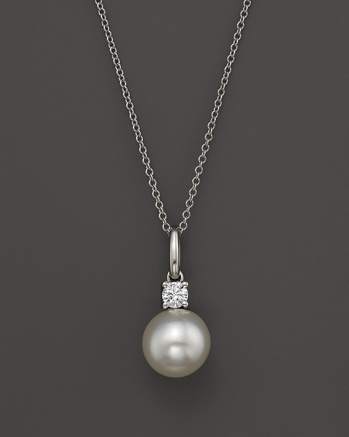 Cultured freshwater pearl and diamond pendant necklace in 18k white cultured freshwater pearl and diamond pendant necklace in 18k white gold 18 bloomingdales aloadofball Images