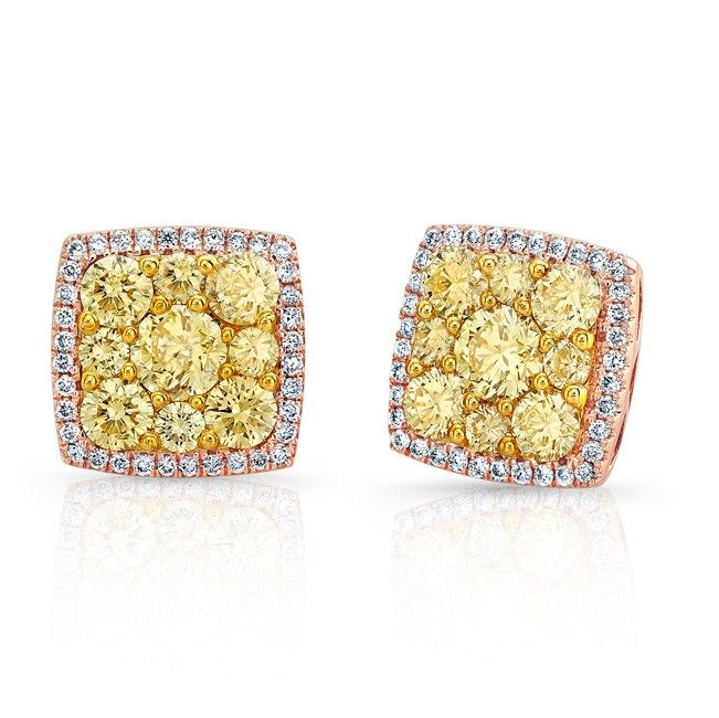 18K ROSE GOLD CONTEMPORARY SQUARE HALO FANCY YELLOW ROUND DIAMONDS CLUSTER EARRINGS SURROUNDED BY ROUND WHITE DIAMONDS, FEATURES 2.25 CARAT TOTAL WEIGHT