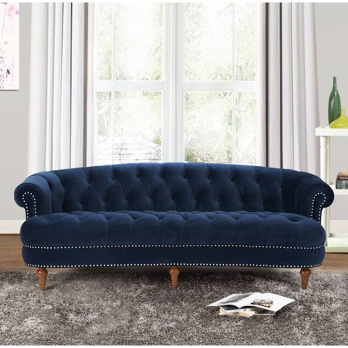 Add A Stately Touch To Your Parlor Or Den Ensemble With This Eye Catching Sofa Featuring A Chesterfield Inspired Design And Tr Blue Velvet Sofa Sofa Furniture