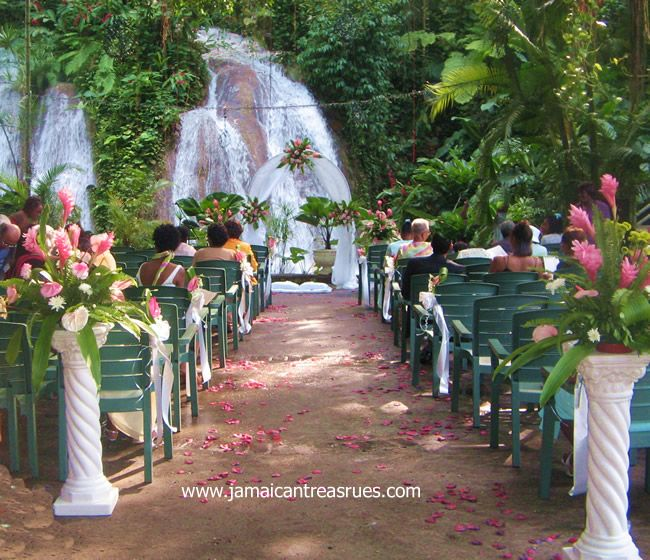 Jamaica Wedding By The Waterfalls And Lush Tropical