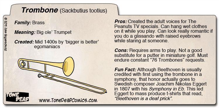 Instrument Files Trombone Tone Deaf Comics Marching Band Jokes Marching Band Humor Band Jokes